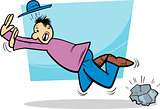 stumbling man cartoon illustration