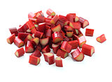 chopped red rhubarb