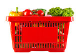 red plastic basket full of healthy vitamins