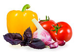 ripened crop of vegetables on white background