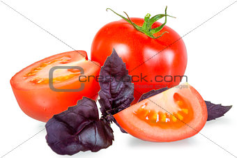 tomato with basil on a white background