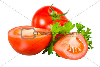 sliced ​​tomato and parsley on a white background