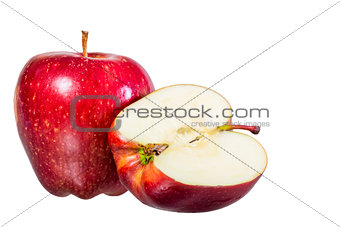 beautiful red juicy apple on a white background