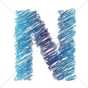 sketched letter N