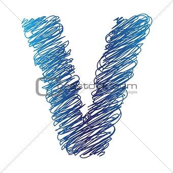sketched letter V