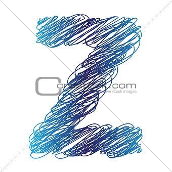 sketched letter Z