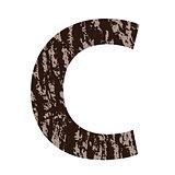 letter C made from oak bark