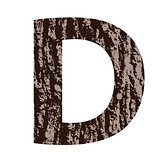 letter D made from oak bark