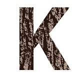 letter K made from oak bark