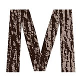 letter M made from oak bark
