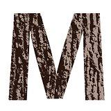 letter M made from oak bark