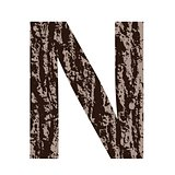 letter N made from oak bark