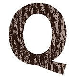 letter Q made from oak bark