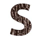 letter S made from oak bark