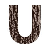letter U made from oak bark