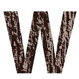 letter W made from oak bark