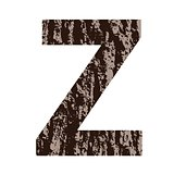 letter Z made from oak bark