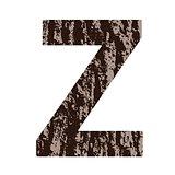 letter Z made from oak bark