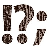 question mark made from oak bark