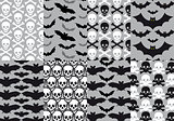 Skulls and bats, seamless pattern, vector