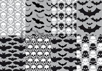 Skulls and bats, seamless pattern, vector