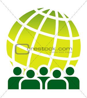 Green global meeting sign