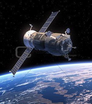 Cargo Spacecraft Orbiting Earth