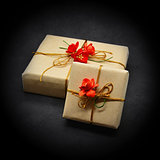 Gift boxes on a black background