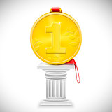 Golden Medal With Ribbon On Column. Vector Illustration.