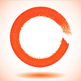 Orange paintbrush circle vector frame