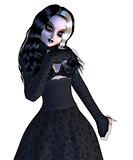 Girl in black gothic dress