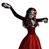 Gothic woman in red dress