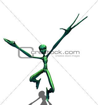 Green alien running