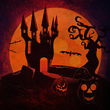 Halloween Castle and pumpkins grunge background