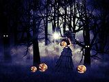Halloween witch with pumpkin