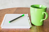 Set of work table with hot coffee