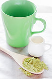 Set of making hot green tea latte drink