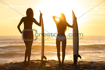 Beautiful Bikini Surfer Women Girls Surfboards Sunset Beach