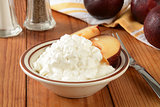 Cottage cheese and plums