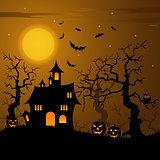 Halloween haunted castle with bats background