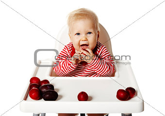 Baby Is Eating Plums