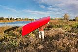 portaging canoe