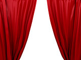 opening red curtain. Place for text