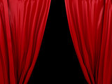 opening red curtain on black background