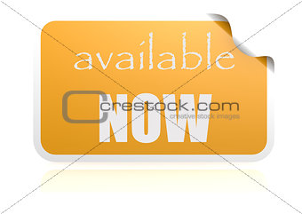Available now yellow sticker