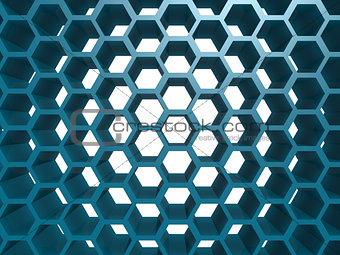 Blue hexagon pattern