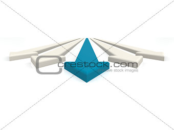 Blue leading arrow