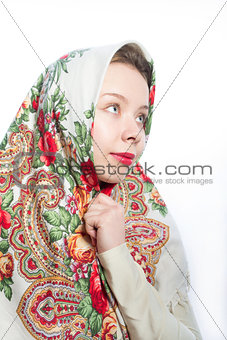 Alyonushka Russian beautiful woman in national kerchief on her h