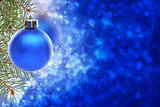 Christmas card with blue ball.