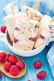 Frozen yogurt with oats and raspberries